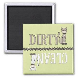 Clean-Dirty Cat Green Dishwasher Magnet