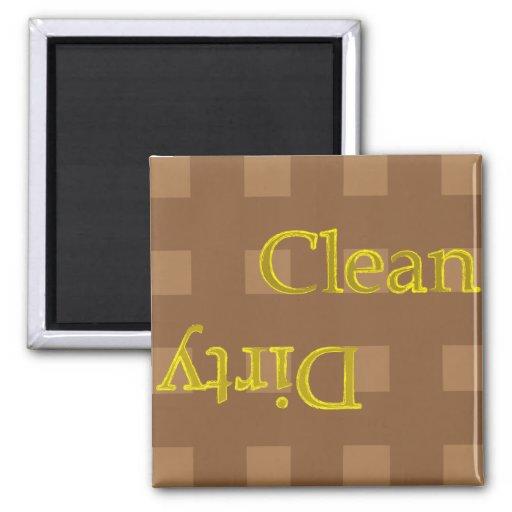 Clean Dirty Checker Brown  Magnet