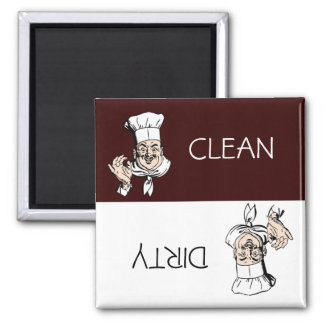 Clean Dirty Chef with Hat Dishwasher 2 Inch Square Magnet