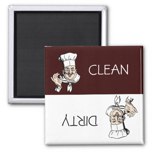 Clean Dirty Chef with Hat Dishwasher Refrigerator Magnet