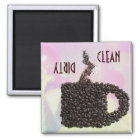 """CLEAN / DIRTY"" Coffee Bean Mug Diswasher Magnet"