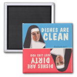 Clean dirty dishwasher funny nun 2 inch square magnet