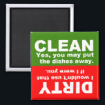 """Clean Dirty Dishwasher magnet<br><div class=""""desc"""">Magnet to place on the front of your dishwasher to help remember if dishes are clean or dirty.      CLEAN - Yes,  you may put the dishes away.    DIRTY - I wouldn&#39;t use that if I were you.</div>"""