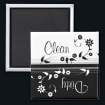 "Clean Dirty Dishwasher Magnet<br><div class=""desc"">This classy black and white magnet clearly lets everyone know that the dishes are dirty. If you prefer separate clean and dirty magnets,  check out the links below!</div>"