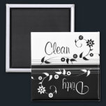 """Clean Dirty Dishwasher Magnet<br><div class=""""desc"""">This classy black and white magnet clearly lets everyone know that the dishes are dirty. If you prefer separate clean and dirty magnets,  check out the links below!</div>"""