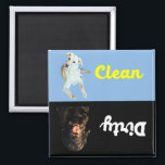 """Clean -Dirty Dishwasher Magnet<br><div class=""""desc"""">No more answering the question,  &quot;Is the dishwasher clean or dirty?&quot; with this adorable magnet.  Simply turn as needed and when the kids ask,  point at the dishwasher.  If they ask and you&#39;re in another room simply yell back,  &quot;What color is the dog?!&quot;</div>"""