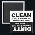 "Clean Dirty Dishwasher magnet<br><div class=""desc"">Magnet to place on the front of your dishwasher to help remember if dishes are clean or dirty.