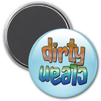 Clean Dirty Dishwasher Magnet Brown Blue Round
