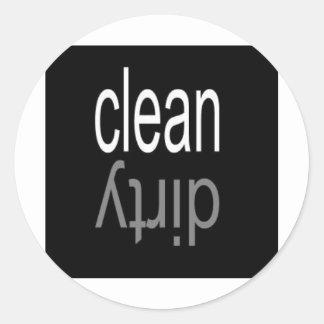 Clean/Dirty Dishwasher Magnet Classic Round Sticker