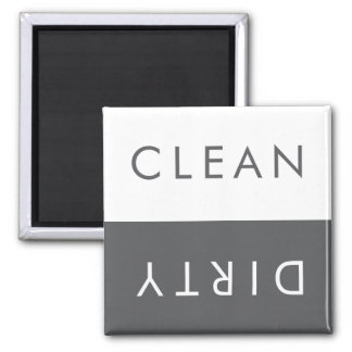 Clean Dirty Dishwasher Magnet in Gray and White