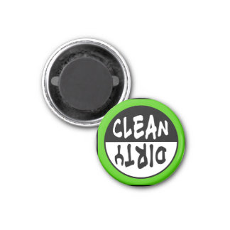 Clean-Dirty Dishwasher Magnet in Green and BW