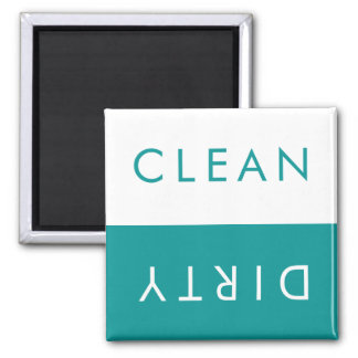 Clean Dirty Dishwasher Magnet in Teal & White