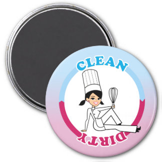 Clean Dirty Dishwasher Magnet with Illustration