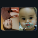 """Clean Dirty Dishwasher Personalized Photo Magnet<br><div class=""""desc"""">Personalize these fun magnets with your child&#39;s photos, I know you all have a few smash cake or baby photos of them trying to feed themselves! To resize or reposition the photos, click on the Customize It button. This will take you into the edit mode. You can also change the...</div>"""