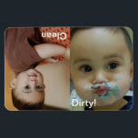 "Clean Dirty Dishwasher Personalized Photo Magnet<br><div class=""desc"">Personalize these fun magnets with your child&#39;s photos, I know you all have a few smash cake or baby photos of them trying to feed themselves! To resize or reposition the photos, click on the Customize It button. This will take you into the edit mode. You can also change the...</div>"