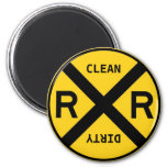 Clean Dirty Dishwasher Railroad Crossing 2 Inch Round Magnet