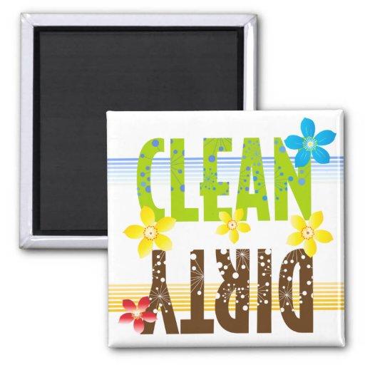 Clean Dirty Flower Refrigerator Magnet
