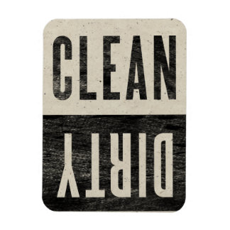 Clean   Dirty Letterpress Style Dishwasher Magnet