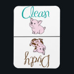 """Clean/Dirty Little Pig Dishwasher Magnet<br><div class=""""desc"""">Cute clean/dirty dishwasher magnet with pigs lets everyone know whether dishes are clean or dirty. Customize by changing the background color to go with your kitchen design.</div>"""