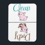 "Clean/Dirty Little Pig Dishwasher Magnet<br><div class=""desc"">Cute clean/dirty dishwasher magnet with pigs lets everyone know whether dishes are clean or dirty. Customize by changing the background color to go with your kitchen design.</div>"