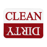 Clean dirty maroon dishwasher rectangular photo magnet