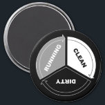 """Clean-Dirty-Running dishwasher magnet (on black)<br><div class=""""desc"""">A single magnet to capture the major process states of the center of the kitchen* (y&#39;know, other than &quot;broken&quot;). These magnets work particularly well for office kitchens and breakrooms, where employees might need a little reminder of how dishwashers work. * (Yeah, the center of the kitchen is the dishwasher. You...</div>"""