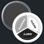 """Clean-Dirty-Running dishwasher magnet (on white)<br><div class=""""desc"""">A single magnet to capture the major process states of the center of the kitchen* (y&#39;know, other than &quot;broken&quot;). These magnets work particularly well for office kitchens and breakrooms, where employees might need a little reminder of how dishwashers work. * (Yeah, the center of the kitchen is the dishwasher. You...</div>"""