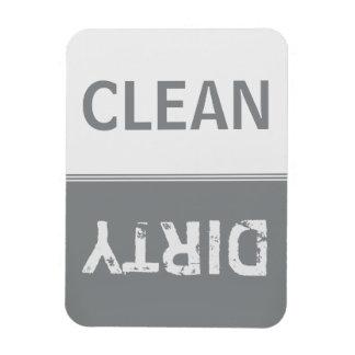 Clean Dirty Sleek Silver Dishwasher Magnet