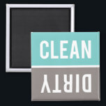 """Clean Dirty Turquoise Blue and Gray Dishwasher Magnet<br><div class=""""desc"""">Turquoise blue,  warm gray,  and white Clean Dirty Dishwasher magnets.  Just reverse or flip the magnet to clean or dirty on the front of the dishwasher to inform your family about the dishes inside.  Simple modern design.</div>"""