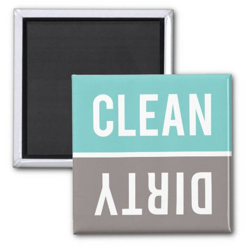 Clean Dirty Turquoise Blue and Gray Dishwasher Magnet