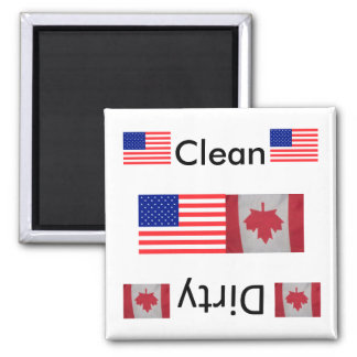 Clean dirty USA Canada flag Dishwasher Magnets