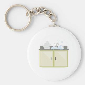 Clean Dishes Basic Round Button Keychain