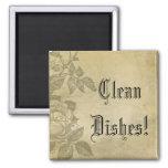Clean Dishes Vintage Roses Magnet