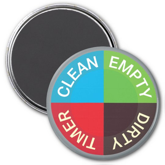 Clean Office Kitchen: Clean-Dirty-Running Dishwasher Magnet (on Black)