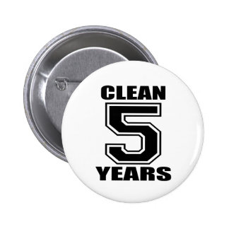 clean five years black pinback button