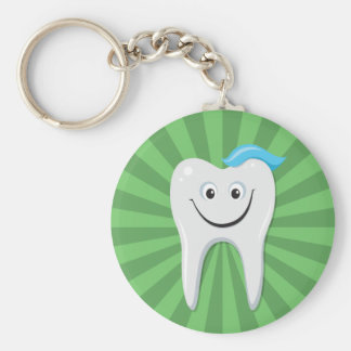 Clean green happy cartoon tooth with tooth paste basic round button keychain