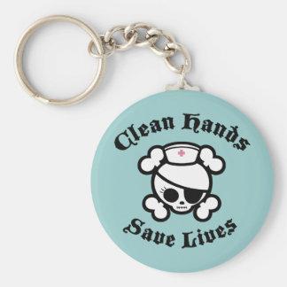 Clean Hands Basic Round Button Keychain