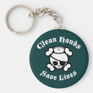 Clean Hands Save Lives Basic Round Button Keychain