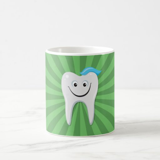 Clean happy cartoon tooth with tooth paste mug