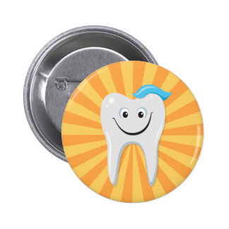 Clean happy cartoon tooth with tooth paste pinback button