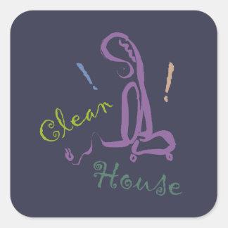 !! Clean House / Stickers, Square, Round Corners Square Sticker