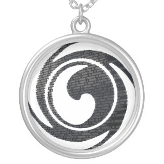clean logo silver plated necklace