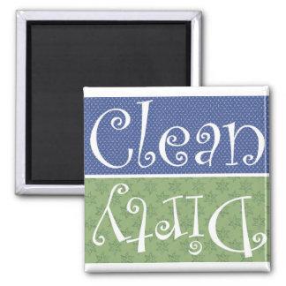 Clean n dirty  white, blue n green magnet