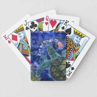 Clean Ocean Sea Turtle Art Bicycle Playing Cards