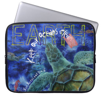 Clean Ocean Sea Turtle Art Computer Sleeve