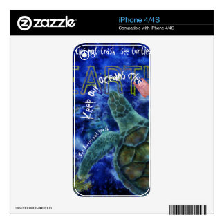 Clean Ocean Sea Turtle Art iPhone 4 Skins