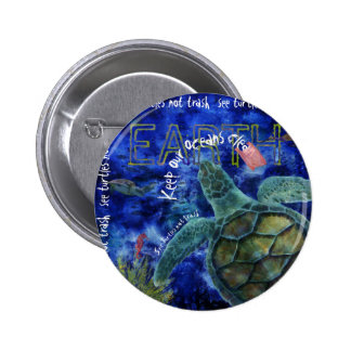 Clean Ocean Sea Turtle Art Pinback Button