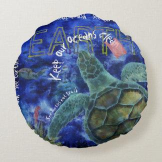 Clean Ocean Sea Turtle Art Round Pillow