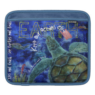 Clean Ocean Sea Turtle Art Sleeves For iPads