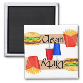 Clean or Dirty Burgers and Fries Dishwasher 2 Inch Square Magnet
